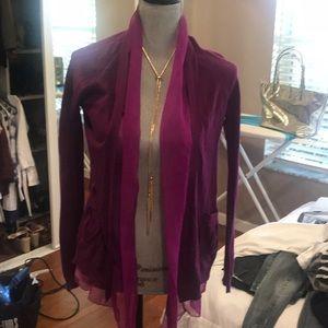 Fuschia -purple cardigan.